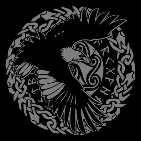 Scandinavian Viking design. Black Raven in flight with outstretched wings and Old Norse ornament Иллюстрация