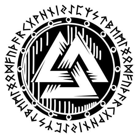Scandinavian Viking design. Viking shield with northern runes - old Norse alphabet