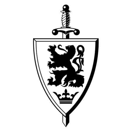 Knightly design. Shield With Heraldic Lion, Warrior Sword and Crown Ilustração Vetorial