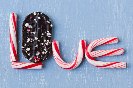 Candy Cane and Peppermint Cookie Spelling the word love photo