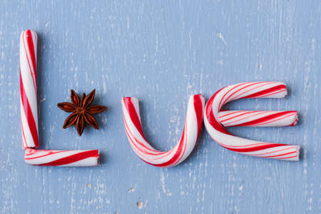 Candy Cane and Anise Spelling the word love photo