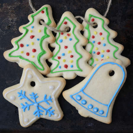 metalic: Holiday Cookies On Rustic Metalic Background for the Holidays Stock Photo