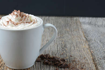 fattening: Mint Hot Chocolate on Wooden Background Stock Photo