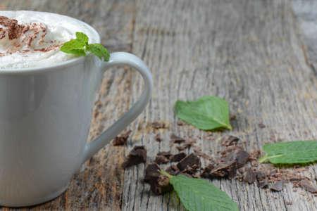 Mint Hot Chocolate on Wooden Background Stok Fotoğraf