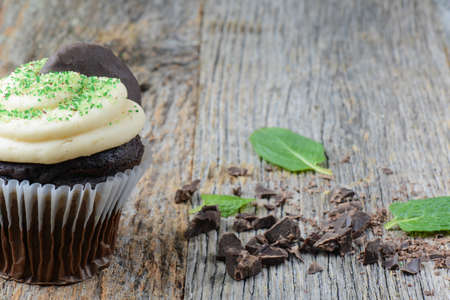 mint leaves: Mint Cupcake With Fresh Mint Leaves on Wooden Background