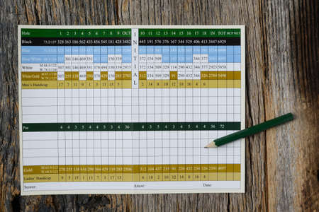 Blank Golf Score Card with Nobody
