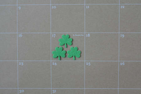 Calendar Showing Saint Patricks Day for the year 2015 Stock Photo