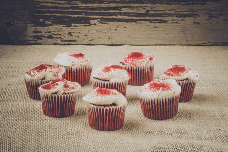 Cupcakes with rustic backgound