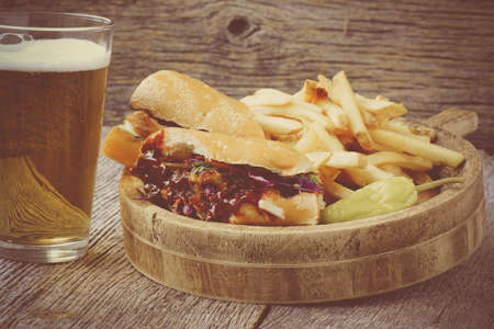 pulled: Pulled Pork Sandwich with BBQ Sauce Stock Photo