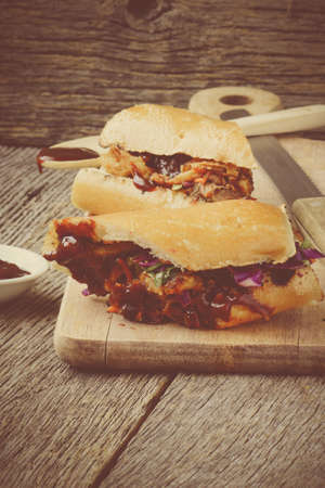 Pulled Pork Sandwich with BBQ Sauce Banque d'images