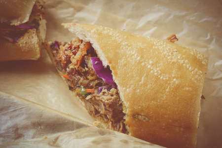 Pulled Pork Sandwich with BBQ Sauce Stok Fotoğraf