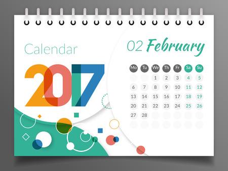 February 2017 Calendar 2017 Illustration