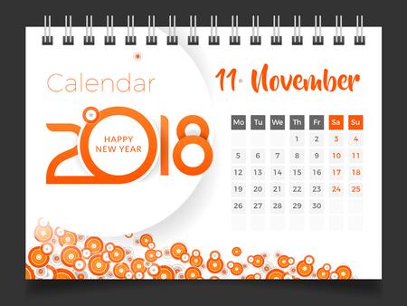 November 2018. Desk Calendar 2018 Stock Vector - 83953232