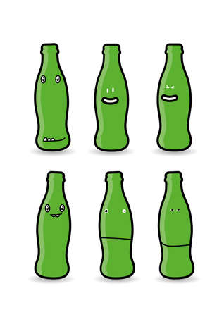 Six green bottle characters  cartoons with various expressions