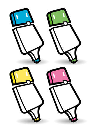 Four coloured highlighter marker pen characters