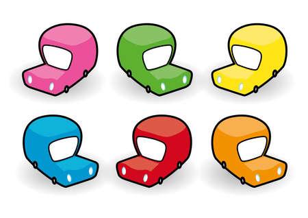 Six multi-coloured van cartoon icons Illustration