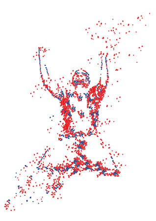 Footballer goal celebration in confetti