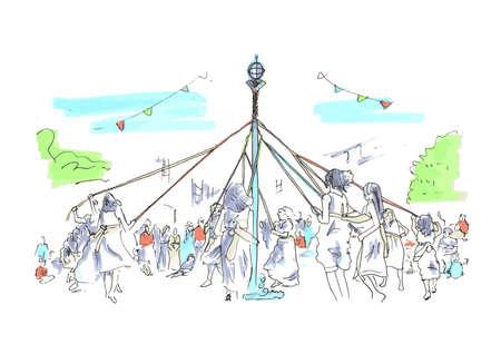 germanic: Spring  Summer outdoor Maypole festival celebration Illustration