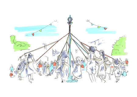 Spring  Summer outdoor Maypole festival celebration Ilustrace