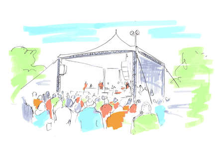 speakers: An outside festival event with entertainment under a marquee Illustration