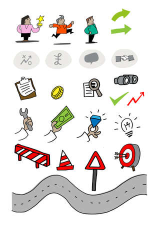 Assortment of progressive business icons Illustration