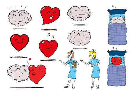 Assortment of Heart, Brain and Nurse images relating to health and wellbeing