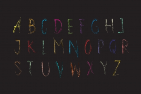 Alphabet font colouful Crayon black background, Lettrs A - z Vector