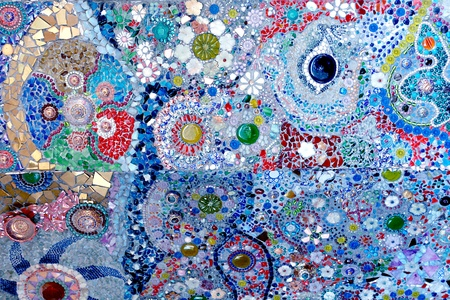 Colorful glass mosaic art and abstract wall backgr photo