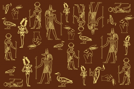 sculptures: elements of the Egyptian decorative patterns,icon,character design Illustration