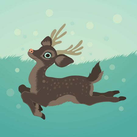 illustration with deer in green field and snow Vector