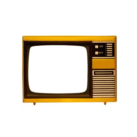 old frame television on a white background with isolated screen photo