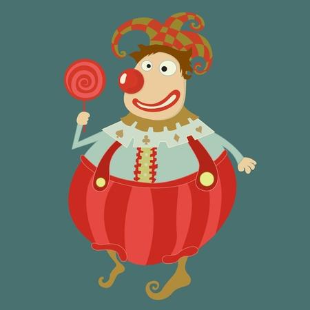 Funny clown Vector art-illustration on blue background