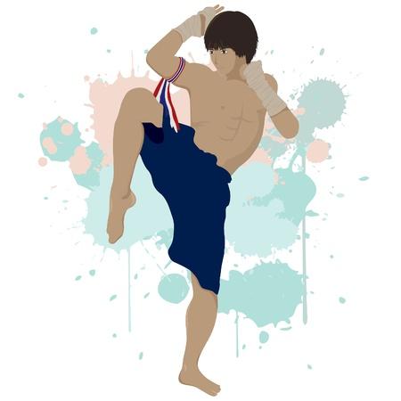 Thai boxing Muay Thai with splash graphic ,eps vector file Illustration