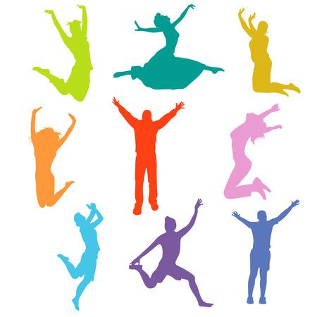 silhouet mensen springen vector illustratie