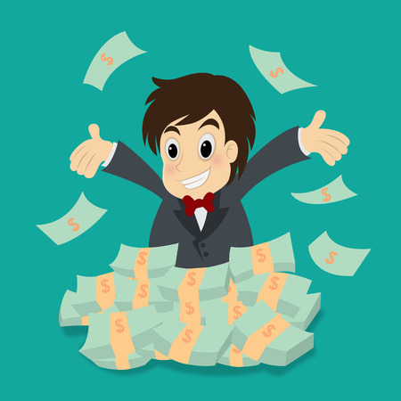 capitalist: Happy successful businessman with lots of money Illustration