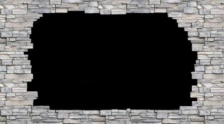agujero negro en el fondo aislado muro de piedra