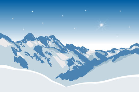 snowy mountains: Winter snowy mountains vector background