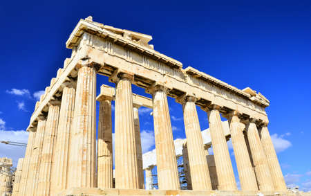 Parthenon of blue sky in Acropolis, Athens. photo