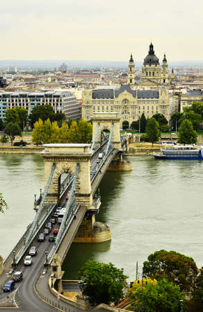 Chains Bridge in Budapest Hungary. photo