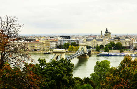 Budapest, Hungary View of the city and the river Danube with top. photo