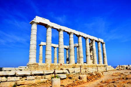 The Temple of Poseidon at Cape Sounion near Athens, Greece   photo