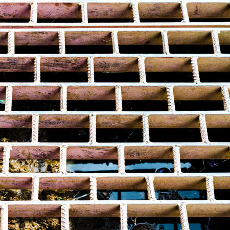 Rust steel grating drain cover photo