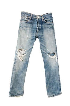古い中古ジーンズ ズボンが白で隔離