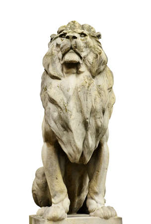 reproduction animal: Tiger Statue isolated on white black background