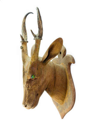 Carved wooden deer head isolated on white background photo