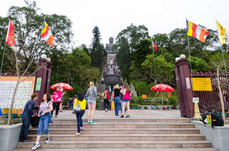 HONG KONG, MARCH 28, Tian Tan Buddha, also known as the Big Buddha, is a large bronze statue of a Buddha located at Ngong Ping, Lantau Island, in Hong Kong on 28 March 2014  one of landmark of hong kong