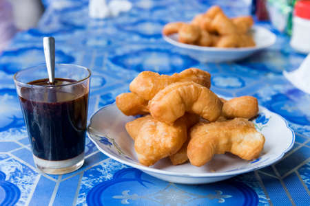 patongkoh: deep-fried stick (patongkoh) with black coffee