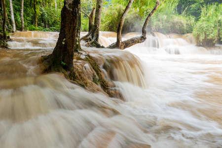 turbid: Waterfall in Luang prabang is Guangxi Waterfall over the turbid water