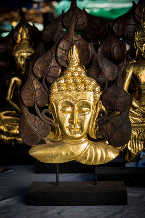 thai style: Traditional Thai style Lord Buddhas face wood carving