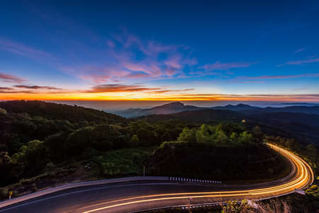 Doi Inthanon National park in the sunrise at Chiang Mai Province, Thailand photo